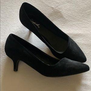 Black suede like kitten heels. Brand New